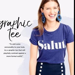 J Crew blue salut graphic tee #934